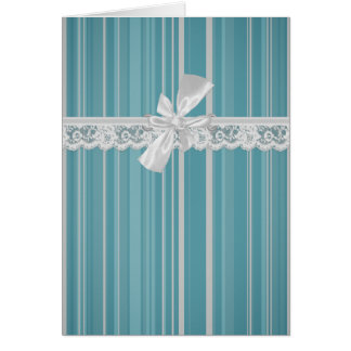 Aqua Stripes with Lace and Bow Card