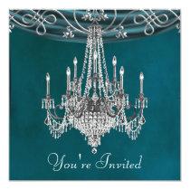 "Aqua Teal Blue Chandelier Party Invitations 5.25"" Square Invitation Card"