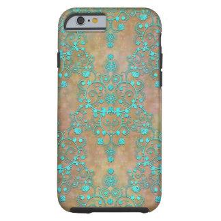 Aqua Teal over Brown Vintage Damask Design Tough iPhone 6 Case