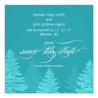 Aqua Trees Winter Wedding Save the Date Card