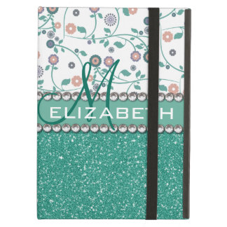 Aqua Turqoise Monogram Flower Glitter Pattern Case For iPad Air
