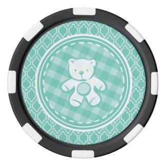 Aqua Turquoise Retro Teddy Bear Baby Shower Poker Chips