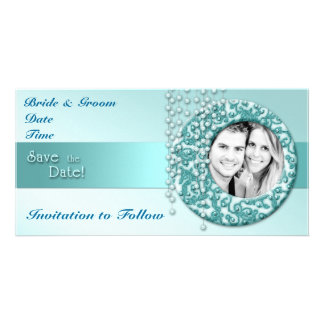 Aqua Turquoise Save the Date Customised Photo Card