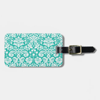 Aqua Turquoise Teal damask pattern Tag For Bags