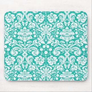 Aqua Turquoise Teal damask pattern Mouse Pad