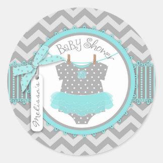 Aqua Tutu & Chevron Print Baby Shower Round Sticker