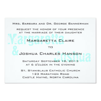 "Aqua Vintage Brick Graffiti Wedding Invitation 5"" X 7"" Invitation Card"
