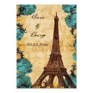 aqua vintage eiffel tower Paris save the date 13 Cm X 18 Cm Invitation Card