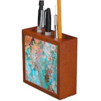 Aqua Vintage Grunge Art, Mahogany Desk Organizer Pencil/Pen Holder