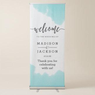 Aqua Watercolor Brush Strokes Wedding Welcome Retractable Banner