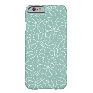Aqua Whimsical Ikat Floral Petal Doodle Pattern Barely There iPhone 6 Case
