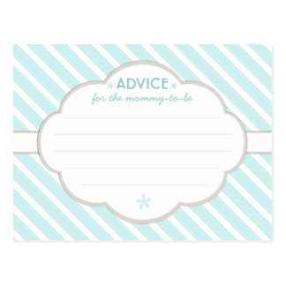 Aqua | White Baby Shower Advice for Mommy to Be Postcard