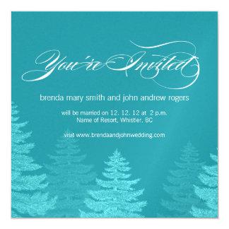 Aqua White Spruce Trees Winter Wedding Invitation