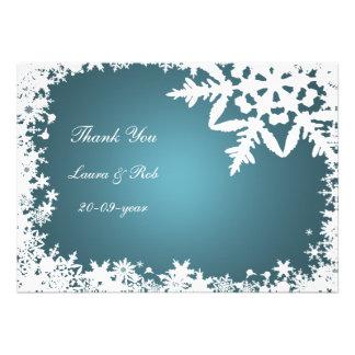 aqua winter wedding Thank You Custom Invite