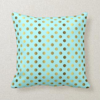 Aqua with Gold Polka Dot Decorator Accent Pillow