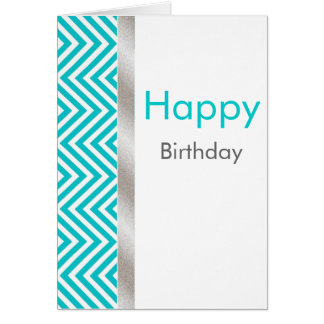 Aquamarine and White Chevron Birthday Card