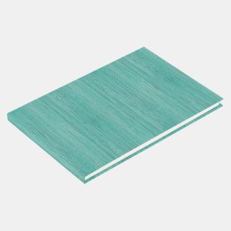 Aquamarine Bamboo Wood Grain Look Guest Book