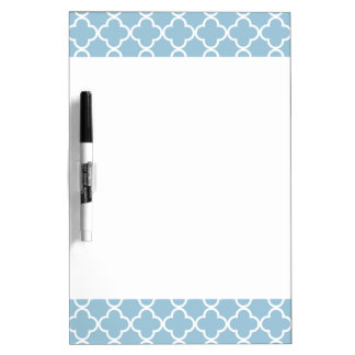 Aquamarine Blue and White Quatrefoil Moroccan Patt Dry Erase Board