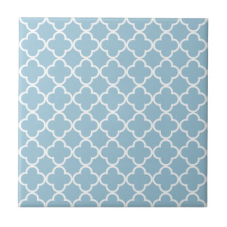 Aquamarine Blue and White Quatrefoil Moroccan Patt Small Square Tile