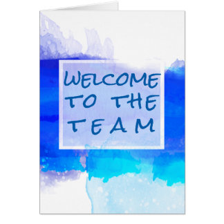 Aquamarine BLUE Watercolor Abstract  Welcome Note Card