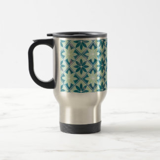 Aquamarine Decorative Floral Tiles Travel Mug