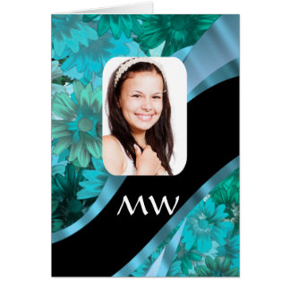 Aquamarine floral personalized photo card