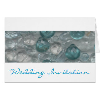 Aquamarine Gems Evening Wedding Invitation