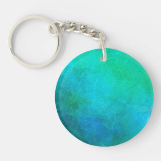 Aquamarine Green Blue Ice Abstract Art Single-Sided Round Acrylic Key Ring