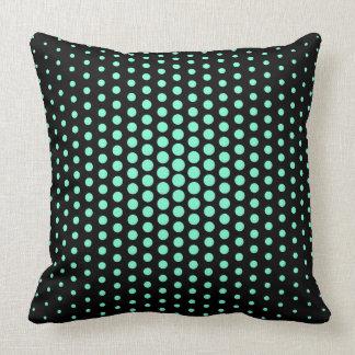 Aquamarine Techno Dots Modern Black Cushion