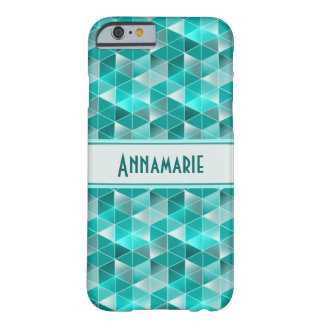Aquamarine Triangles Pattern Customisable Barely There iPhone 6 Case
