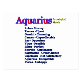 Aquarius Astrological Match The MUSEUM Zazzle Gift Postcard