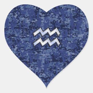Aquarius Zodiac Symbol on navy blue digital camo Heart Sticker
