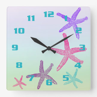 Aquatic Life Starfish In Pastel Colors Pattern Wall Clock