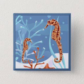 Aquatic Seahorse Ocean Button