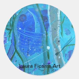 Aquatic Triptych Round Sticker