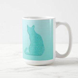 Arabesque Cat - shades of turquoise Basic White Mug