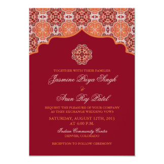 "Arabesque Orange Red Indian Wedding Invitation 5"" X 7"" Invitation Card"