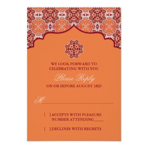Arabesque Orange Red Indian Wedding RSVP Reply Personalized Invitation
