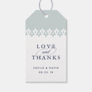 Arabesque Wedding Favor Tags | Mist