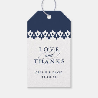 Arabesque Wedding Favor Tags | Navy