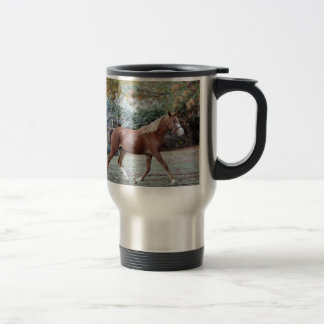 Arabian Horse running free on the pasture Travel Mug
