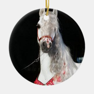 Arabian Horse White Round Ceramic Decoration