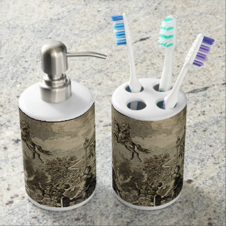 Arabian Nights Enchanted Flying Horse Prince Soap Dispenser And Toothbrush Holder