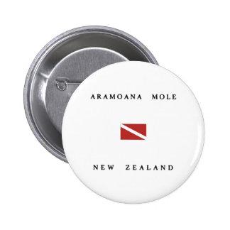 Aramoana Mole New Zealand Scuba Dive Flag 6 Cm Round Badge