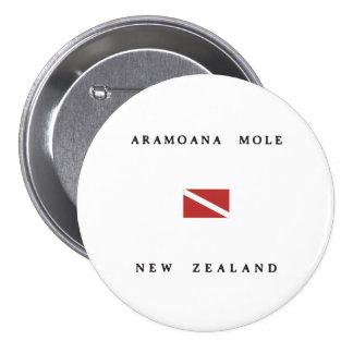 Aramoana Mole New Zealand Scuba Dive Flag 7.5 Cm Round Badge