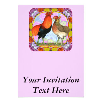 Araucana Chickens Art Nouveau Card