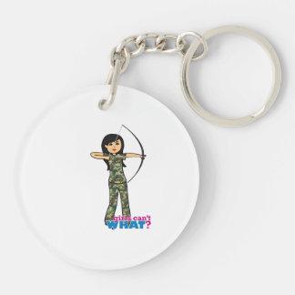 Archer Girl in Camo -  Medium Key Ring