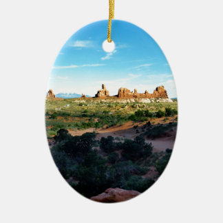 Arches National Park from a distance Ceramic Oval Decoration