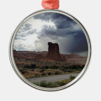 Arches National Park Sheep Rock Silver-Colored Round Decoration