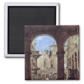 Architectural Capriccio, c.1770 Square Magnet